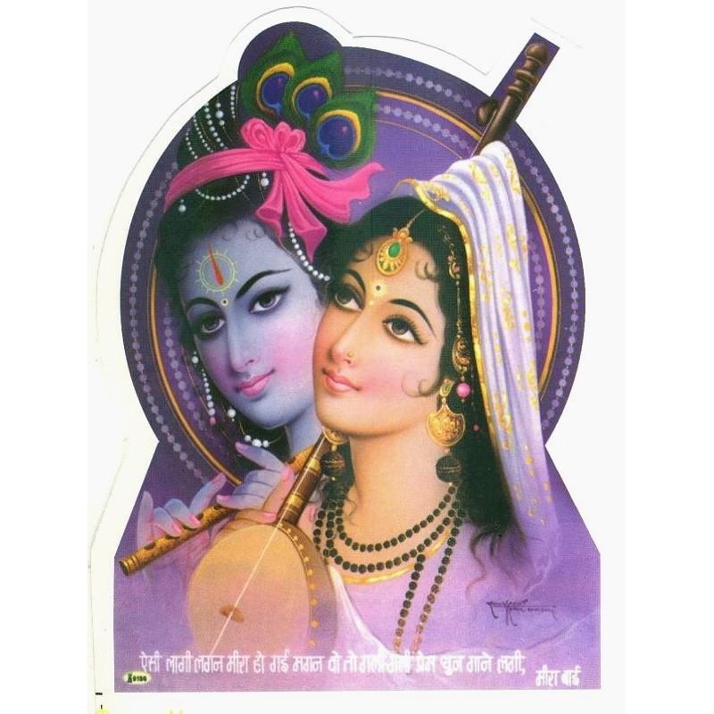 Aufkleber Krishna mit Radha