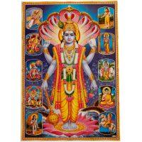 Poster mit Vishnu und 10 Inkarnationen (Avatare)