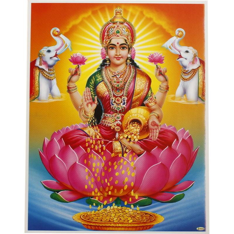 Poster Lakshmi -der Göttin des Glücks, der Schönheit, des Wohlstands