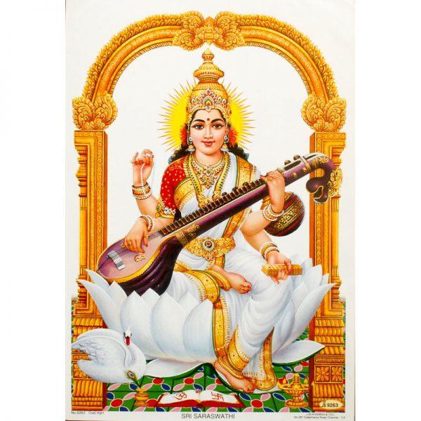 Poster klein Göttin Saraswati