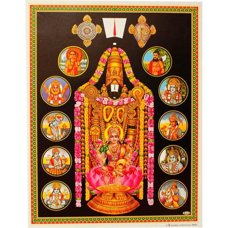 Poster Vishnu - 10 Inkarnationen (Avatare)